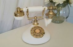 Romantic Vanilla White & Gold Vintage Telephone by ManciniVintage