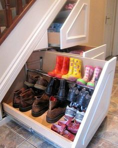 Cool idea to store shoes inside the staircase