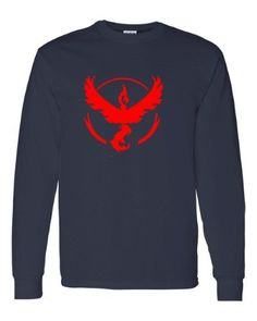 Pokemon Go Gym Team Valor Red Youth Long Sleeve Tee T-Shirt Navy Small, Boy's, Blue