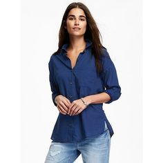 Old Navy Boyfriend Chambray Shirt (19 PAB) ❤ liked on Polyvore featuring tops, blue, petite, long-sleeve shirt, blue top, blue long sleeve shirt, boyfriend shirt and side slit shirt