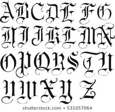 Tattoo Lettering Alphabet, Tattoo Lettering Design, Gothic Lettering, Hand Lettering Fonts, Graffiti Lettering, Alphabet Writing Style, Cursive Alphabet, Stencil Font, Alphabet Stencils