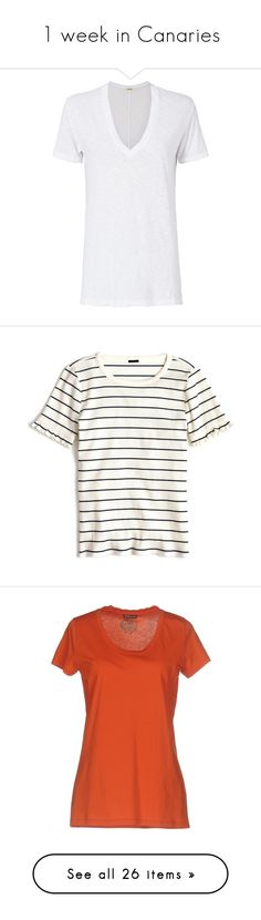 """""""1 week in Canaries"""" by sasha-retana ❤ liked on Polyvore featuring tops, t-shirts, tees, white, oversized white t shirt, oversized white tee, v neck tee, monrow tee, oversized t shirt and white striped t shirt"""