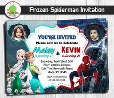 Disney Frozen and Spiderman Double Birthday by PlanetPix on Etsy