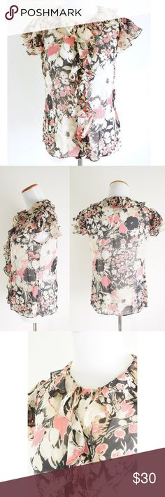 """MILLY Ruffled Silk Floral Button Down Flutter Top Beautiful feminine top from Milly of New York. 100% Silk sheer top with tan, pink and black floral print. Fluttery ruffle collar and sleeves with cascading ruffles and gem like button down front. Slightly rounded hem. Dry clean only. Approx flat meas: length 24"""",  bust 18"""", waist 17"""", hem 20"""". EUC no rips stains or holes Milly Tops Blouses"""