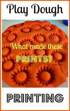 Printing with play dough- set out an assortment of objects and take turns guessing which object made the impression. Good for construction unit. Playdough Activities, Preschool Activities, Motor Activities, Indoor Activities, Play Dough Sets, Play Doh, Sensory Boxes, Sensory Play, Homemade Playdough