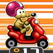 Rat On A Scooter XL (iOS) - Hier gilt es eine Ratte auf einem Roller durch kniffliege Parcoure in Jump'n'Run-Manier zu steuern.