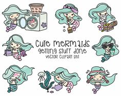 Premie Vector Clipart Kawaii Mermaid schattige