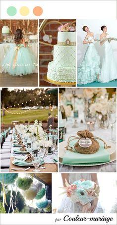 Voici un choix de couleur tout en douceur qui conviendra à de nombreux thèmes de mariage : vintage, marie Antoinette, gourmandise... Des couleurs pastel telles que le vert menthe, l'ivoire et pêche sont très tendance. Craquez pour des tissus dans cet...