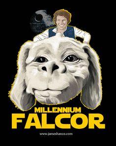 The Millenium Falcor mistura Star Wars com The NeverEnding Story. De James Hance. Mais em http://www.tutoriart.com.br/james-hance-mistura-arte-classica-com-icones-de-cinema-e-tv/