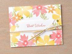 If you love the look of watercolor flowers but don't actually want to watercolor them yourself, the Blooms and Wishes stamp set is for you! We're in love with this gorgeous card. #stampinup