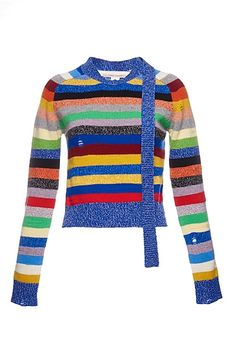 Side Tie Grunge Stripe Long Sleeve Sweater