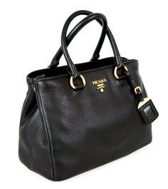 Prada Women's BN2878 Black Leather Shoulder Bag: Handbags: Amazon.com