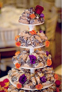 """Cannoli Wedding """"Cake"""" - I like the idea of doing a cannoli/cupcake tower with maybe a single tiered cake at the top."""