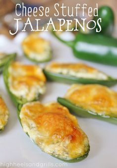 Cheese Stuffed Jalapenos // High Heels and Grills. Out of all the stuffed jalapenos I've snarfed in my life, these are by far the best ever. Easy for holiday party appetizers as well!