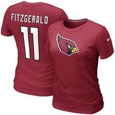Nike Larry Fitzgerald Arizona Cardinals #11 Women's Replica Name & Number T-Shirt - Red