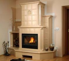 Szyb konwekcyjny utworzony z kafli Stove Fireplace, House Made, Stoves, Log Homes, Home Fashion, Garage, Dining Room, Rustic, House Styles
