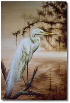 """This snowy egret is painted with acrylic on 24"""" x 36"""" canvas. A snowy egret is looking for next meal in misty morning Lowcountry marsh. I kept the background in monotone color like Japanese """"sumie""""(墨絵) ink painting with exaggerated shading and tail feather."""
