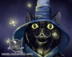 Firefly Ash Evans fantasy black cat art print by AshEvans on Etsy, $15.00