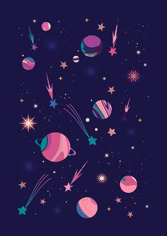 Carly Watts Illustration: Candy #space #galaxy #stars #comet #marble #pattern