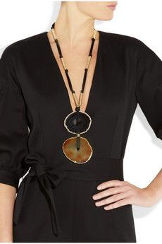 Yves Saint Laurent  Gold-plated agate necklace