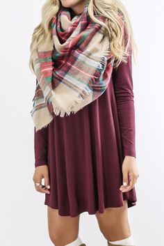 Royal Tower Maroon Long Sleeve Basic Dress Want s dress like this Cute Dresses, Casual Dresses, Cute Outfits, Fall Winter Outfits, Autumn Winter Fashion, Winter Clothes, Fall Fashion, Preppy Style, My Style