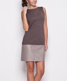 Look at this #zulilyfind! Gray Faux Leather Panel Sheath Dress #zulilyfinds