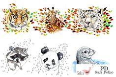 """Villejä ja vähemmän villejä. Yksi """"paitapala"""" on n. 60 cm korkea. Yksi raportti sisältää 6 paitapalaa: tiikerin, kirahvin, lumileopardin, pesukarhun, pandan sekä hylkeen. Huom! Eläin on sopiva isompien lasten sekä aikuisten vaatteisiin. Pienemmille näistä saa esim. ihania vaunupeittoja! Valmistuttaja: Selia, kuosin suunnitellut PelhoDesign. Neliöpaino: 200 g / m2 Leveys: n. 170 cm Materiaalitiedot: 95 %..."""