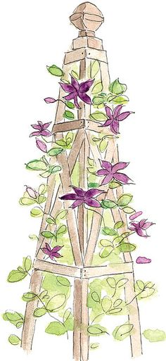 """Tuteurs (from the French for """"trainer"""") and obelisks are tower-like  forms used to support climbing plants."""