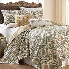 Give your bedroom a fresh updated look with the Accra Quilt Set. Featuring an oversized Ikat inspired pattern with matching pillow shams in cool grey and beige tones, adding a unique exotic touch to the room.