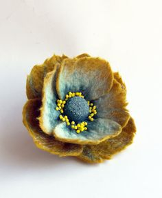 "Felted Flower Brooch, Hair Clip, Wool Felt Jewelry, Mustard & Duck egg Flower, ""A little bit different poppy"" MADE TO ORDER"