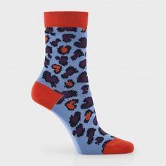 Paul Smith Women's Socks - Sky Blue And Red Animal Socks