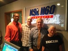 Joan with Doug Wright, Loki Mulholland and Danor Gerald after her radio interview in Salt Lake City, UT.