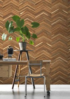 Inspired by travels to Japan where timber is used in numerous ways, Timber Strips Wallpaper in Teak on Chevron by Piet Hein Eek @ NLXL is a truly unique and striking wall covering.