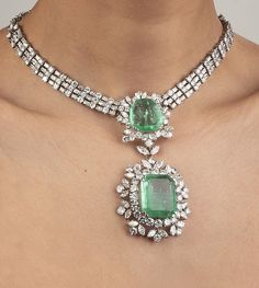 Buy online, view images and see past prices for Necklace in platinum with detachable center in two pieces, Invaluable is the world's largest marketplace for art, antiques, and collectibles. Indian Jewelry Earrings, Indian Wedding Jewelry, Emerald Jewelry, Bridal Earrings, Bridal Jewelry, Emerald Necklace, Real Diamond Necklace, Diamond Bracelets, Diamond Pendant