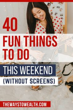 Here are 40 fun and frugal things to do this weekend (without screens) at home, with friends, or out and about your local community. Personal History, Personal Finance, Free Activities, Family Activities, Money Tips, Money Saving Tips, To Do This Weekend, Frugal Living Tips, Budgeting Tips