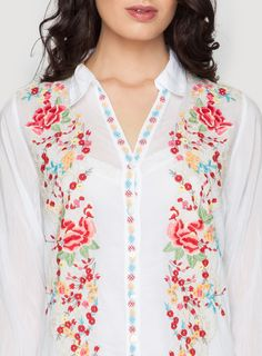 Petals Button Down Top White