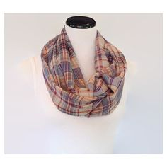 Chiffon Plaid Print Scarf Blue Plaid Infinity Scarf Lightweight Spring... ❤ liked on Polyvore featuring accessories, scarves, loop scarf, plaid infinity scarf, loop scarves, infinity scarves and circle scarf