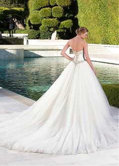 Marvelous Satin & Tulle Sweetheart Neckline Ball Gown Wedding Dresses with Beaded Embroidery