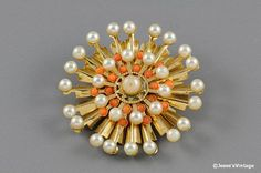 Vintage Brooch Pin Pearl & Coral Bead Gold Tone by JessesVintage, $7.45