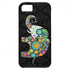 Colorful Retro Flower Elephant Design iPhone 5 Covers