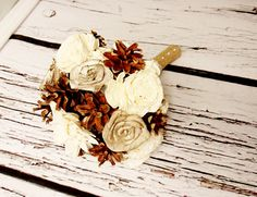 Winter wedding rustic wonderland small bridal bridesmaid BOUQUET Cream Flowers, pine cones,  sola roses,  lace pearl pins - pinned by pin4etsy.com