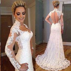 Elegante Do Laço Da Sereia Vestidos de Casamento com o Botão Longo Sleeeves Sweep Trem Vestidos de Noiva Meia Gola Alta Sexy Vestido De Noiva