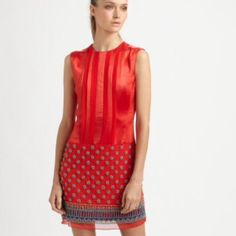 Nanette Lepore red silk and beaded dress This dress is remarkable in person. The best materials! Size 2. Worn one time and in perfect condition. Paid $798 Nanette Lepore Dresses