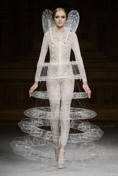 Futuristic Fashion - floating ring illusion dress with elaborate 3D structure and intricate threadwork - sculptural fashion; wearable art // Oscar Carvallo