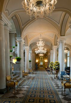 The entrance hall at Villa d'Este, Lake Como, Italy