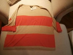 * NWT ANN TAYLOR SHORT SLEEVE TAN/ORANGE STRIPED TOP  SIZE S #AnnTaylor #KnitTop #Career