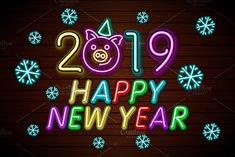 Happy New Year 2019 design template vector. Zip file contains editable 10 EPS 2 vector files and 2 JPEG images Happy New Year Photo, Happy New Year 2019, Happy Images, Happy Photos, New Years Eve Games, Cookie Party Favors, New Year's Eve Cocktails, New Years Eve Decorations, Image New