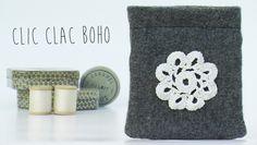 Porte-monnaie fermeture clic clac Style Boho avec Fleur en Crochet Vintage : Porte-monnaie, portefeuilles par lefil