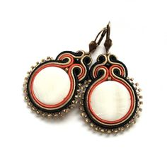 Elegant soutache earrings handmade embroidery gold silver mother of pearl african earrings for her under 60 kenya ghana africa roots