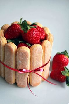 Strawberry Charlotte. Beautiful Christmas Treat.